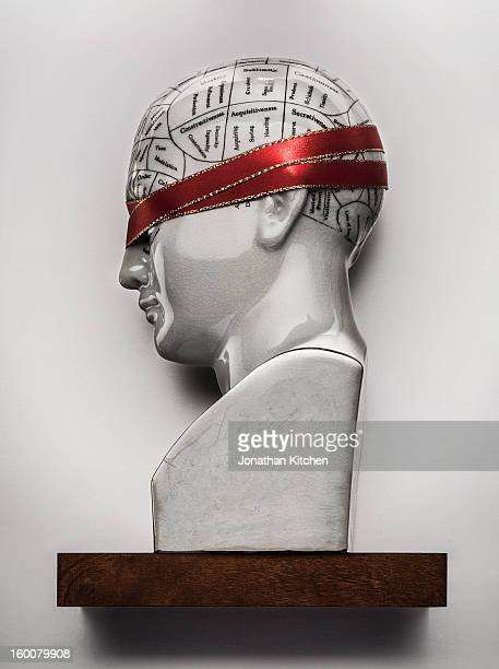 Phrenology head with covered eyes