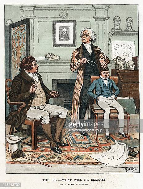Phrenology measuring bumps on boy's head to assess his future On wall is picture of Gall founder of the theory that shape of skull related to...
