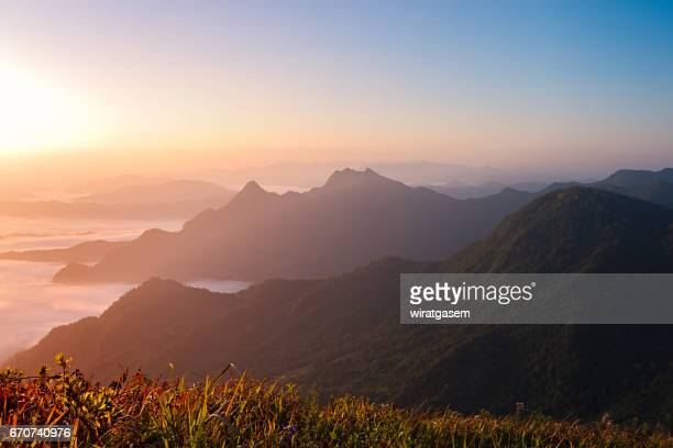 phu chi fa the spectacular landscape of chiangrai province, thailand. - wiratgasem stock photos and pictures