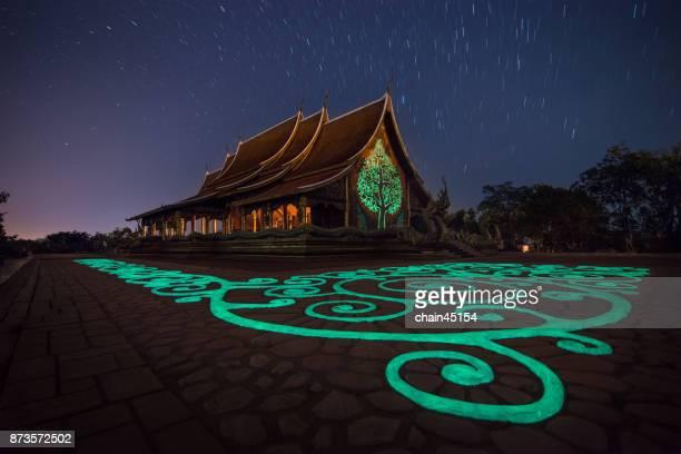 Phu Phrao Temple at night with star. Temple of Sirindhorn Wararam Chong Mek at Ubon Ratchathani, Thailand