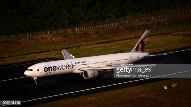 Phuket Thailand - January 8 2018 ; Qatar airways One world design landing at Phuket airport in evening