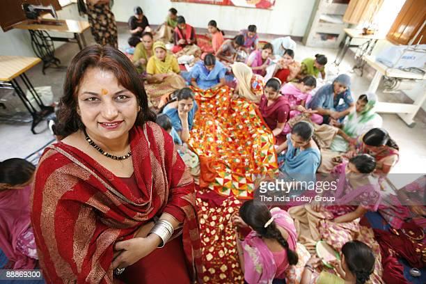 Phulkari Designer Rekha Mann at her shop in Patiala Punjab India