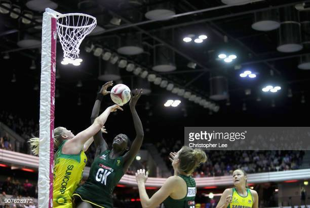 Phumza Maweni of South Africa wins the ball from Caitlin Thwaites of Australia during the Netball Quad Series Vitality Netball International match...