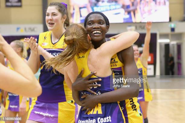 Phumza Maweni of the Lightning celebrates the win during the round 11 Super Netball match between the Lightning and Swifts at University of Sunshine...