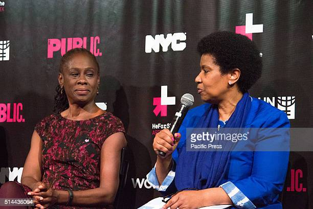 JOE'S PUB NEW YORK NY UNITED STATES Phumzile MlamboNgcuka *right responds to a question as Chirlaine McCray listens On International Women's Day NYC...