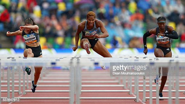 Phylicia George of Canada competes in the Womens 110m Hurdles during the AA Drink FBK Games held at the FBK Stadium on May 22 2016 in Hengelo...