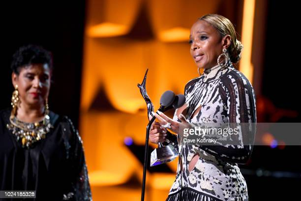 Phylicia Rashad and Mary J Blige onstage during the Black Girls Rock 2018 Show at NJPAC on August 26 2018 in Newark New Jersey