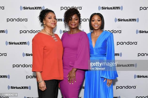 Phylicia Rashad Crystal R Fox and Bresha Webb visit SiriusXM Studios on January 13 2020 in New York City