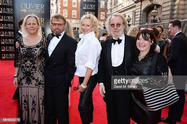 Phyllida Lloyd Bjorn Ulvaeus Judy Craymer Benny Andersson and Catherine Johnson attend the Laurence Olivier Awards at The Royal Opera House on April...