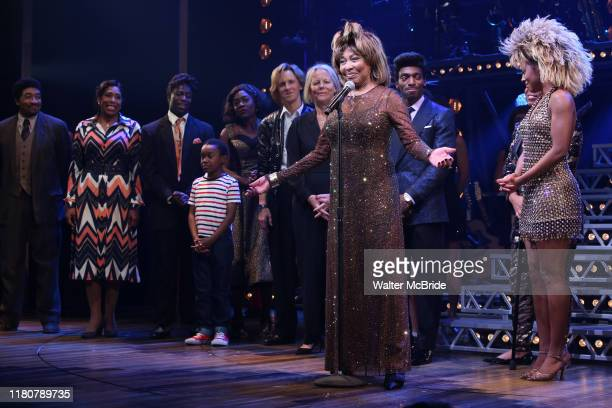 Phyllida Lloyd Daniel J Watts Tina Turner and Adrienne Warren during the Tina The Tina Turner Musical Opening Night Curtain Call at the LuntFontanne...
