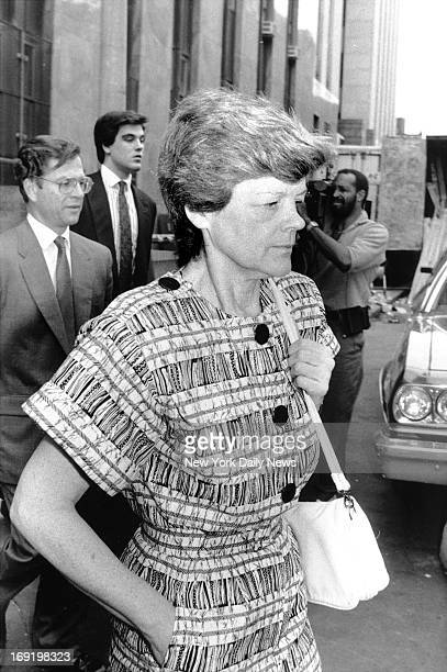 Phyllis Chambers mother of Robert Chambers Jr as she leaves Manhattan Criminal Court Attornery Jack Litman and her son Robert Chambers Jr are walking...