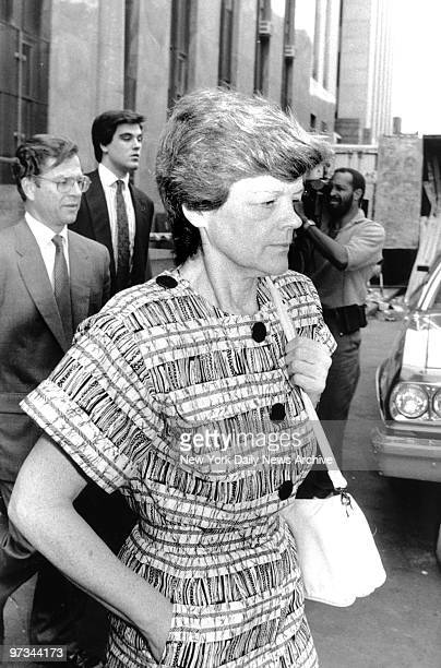 Phyllis Chambers mother of Robert Chambers Jr as she leaves Manhattan Criminal Court Attorney Jack Litman and her son Robert Chambers Jr are walking...