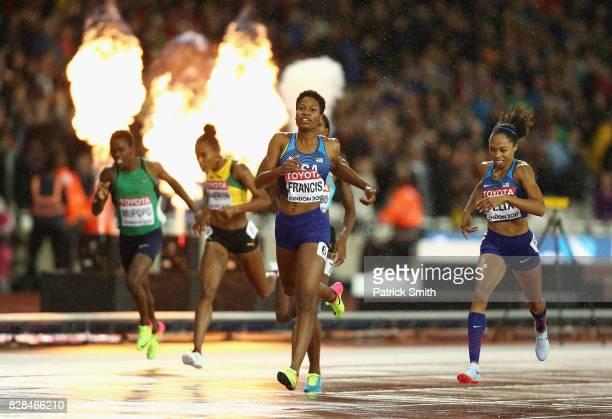 Phyllis Francis of the United States and Allyson Felix of the United States cross the finish line in the Women's 400 metres final during day six of...