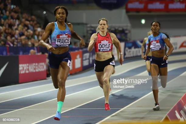 Phyllis Francis of USA on her way to victory from Eilidh Doyle of Great Britain in the women's 400m during the Muller Indoor Grand Prix at Emirates...