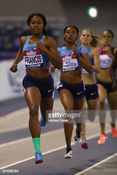 Phyllis Francis of USA on her way to victory in the women's 400m during the Muller Indoor Grand Prix at Emirates Arena on February 25 2018 in Glasgow...