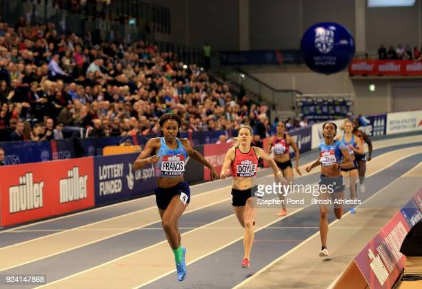 Phyllis Francis of USA wins the womens 400m ahead of Eilidh Doyle of Great Britain during the Muller Indoor Grand Prix event on the IAAF World Indoor...