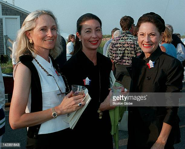 Phyllis Freilich of Worcester Kay Bernon of Wellesley and Sondra Mack of New York attend the Boston Pops' party at Jetties Beach on Nantucket Island...