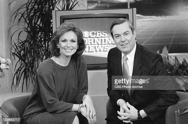 Phyllis George and Bill Kurtis on the set of The CBS Morning News Image dated January 18 1985