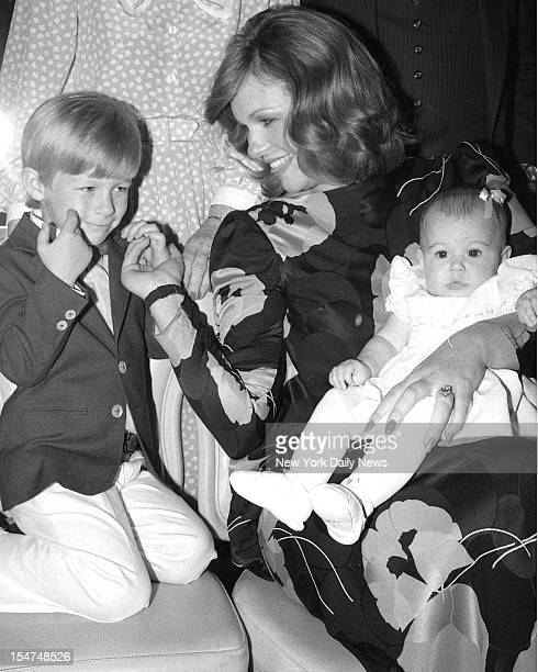 Phyllis George Brown with son Lincoln 3 and daughter Pamela 6 months