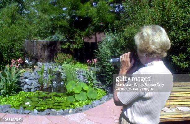 Phyllis Hood from Centennial video tapes Steve Ashe's Koi pond in his backyard during the Koi pond tour on Saturday
