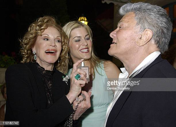 Phyllis McGuire Jeneva Bell Tony Curtis during Flowerbelle Perfume Launch Designed By Jeneva Bell at Bellagio Hotel in Las Vegas Nevada United States