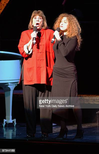 Phyllis Newman and Bernadette Peters perform on stage during a memorial for legendary Broadway lyricist Adolph Green at the Shubert Theater Green...