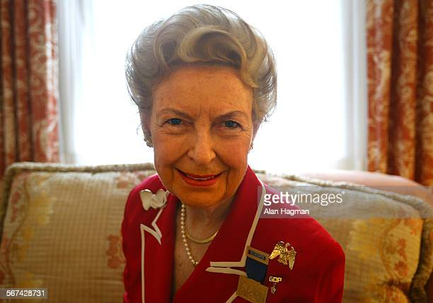 Phyllis Schlafly Missouri delegate and president of The Eagle Forum photographed in her New York hotel room during her visit to New York to attend...