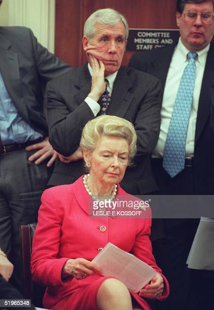 Phyllis Schlafly president of the Eagle Forum and Rep Frank WolfRVA attend a press conference 04 May 2000 on Capitol Hill in Washington DC The press...