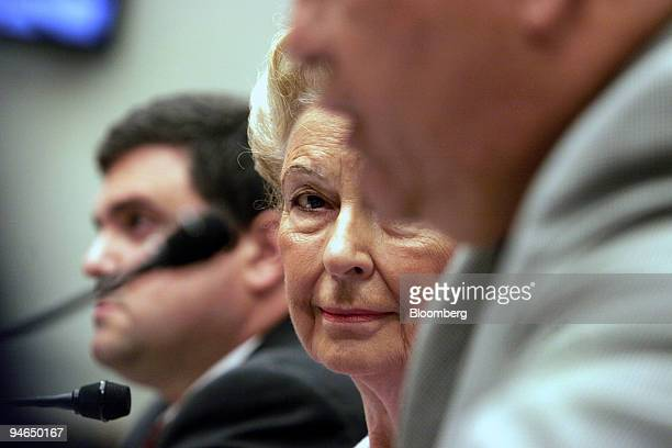 Phyllis Schlafly president of the Eagle Forum center watches US Representative Silvestre Reyes Democrat from Texas foreground as he testifies before...