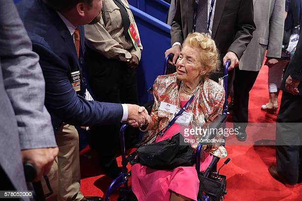 Phyllis Schlafly president of the Eagle Forum greets supporters on the floor during the second day of the Republican National Convention at the...