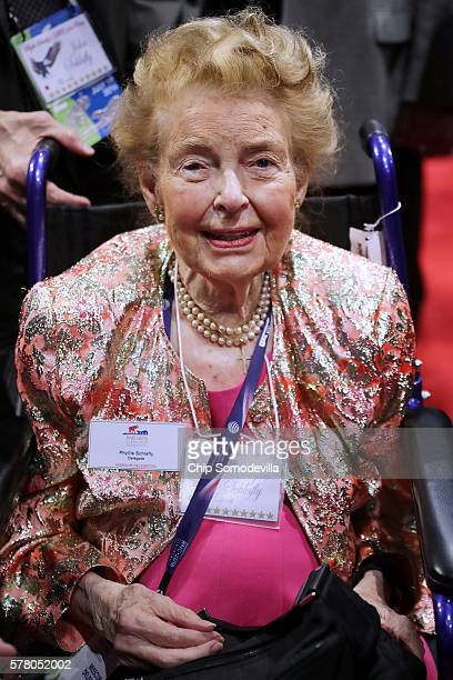Phyllis Schlafly president of the Eagle Forum is wheeled across the floor during the second day of the Republican National Convention at the Quicken...