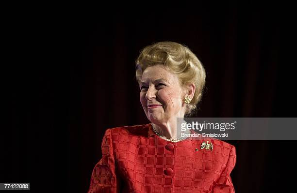 Phyllis Schlafly president of the Eagle Forum listens to applause during the Family Research Council's 2007 Washington briefing October 19 2007 in...