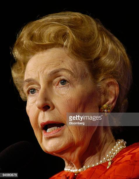 Phyllis Schlafly president of the Eagle Forum speaks at the Values Voter Summit in Washington DC US on Friday Oct 19 2007 The summit is a gathering...