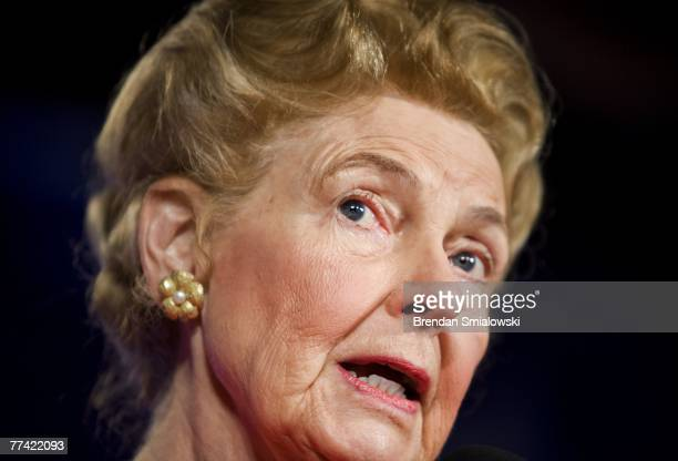 Phyllis Schlafly president of the Eagle Forum speaks during the Family Research Council's 2007 Washington briefing October 19 2007 in Washington DC...
