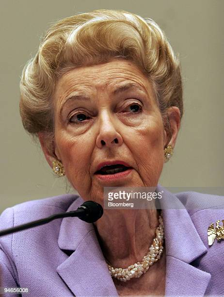 Phyllis Schlafly president of the Eagle Forum testifies before the House Judiciary Committee Immigration Border Security and Claims Subcommittee in...
