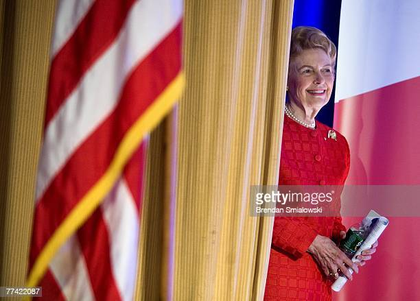 Phyllis Schlafly president of the Eagle Forum waits to speak during the Family Research Council's 2007 Washington briefing October 19 2007 in...