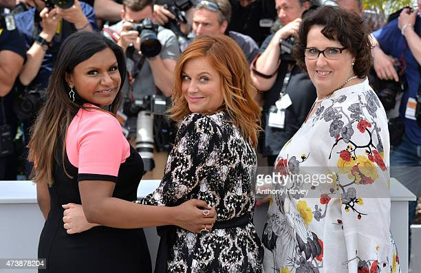 """Phyllis Smith, Amy Poehler and Mindy Kaling attend the """"Inside Out"""" photocall during the 68th annual Cannes Film Festival on May 18, 2015 in Cannes,..."""