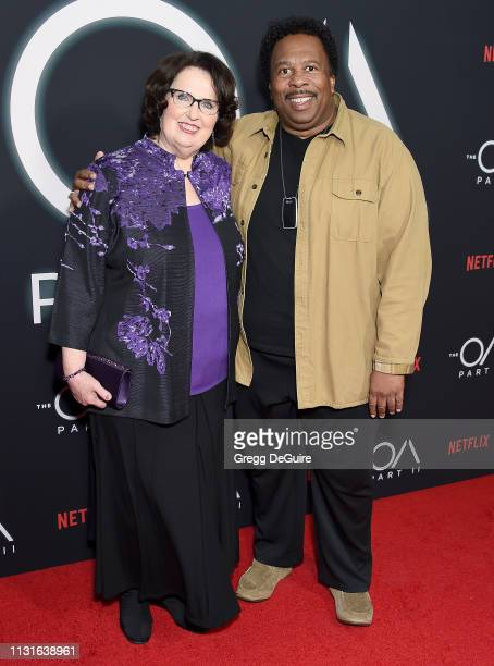 """Phyllis Smith and Leslie David Baker arrive at Netflix's """"The OA Part II"""" Premiere at LACMA on March 19, 2019 in Los Angeles, California."""