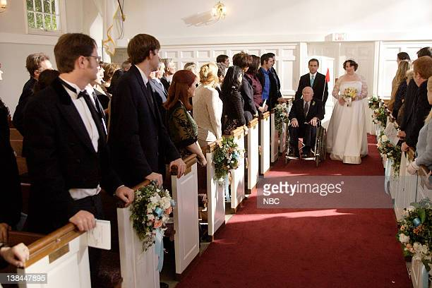 "Phyllis's Wedding"" Episode 15 -- Aired -- Pictured: Hansford Rowe as Albert Lapin, Steve Carell as Michael Scott and Phyllis Smith as Phyllis Lapin"