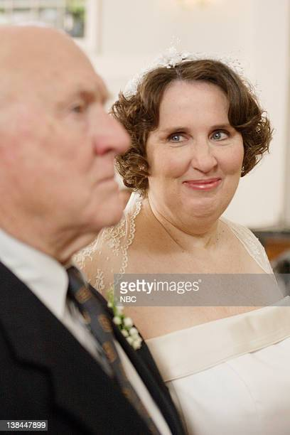 "Phyllis's Wedding"" Episode 15 -- Aired -- Pictured: Hansford Rowe as Albert Lapin and Phyllis Smith as Phyllis Lapin"
