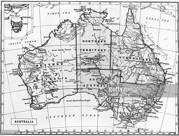 A physical and political map of Australia with an inset map of Tasmania circa 1960