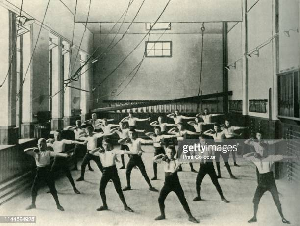 """Physical Exercises at the royal Institution for the Deaf and Dumb, Friar Gate, Derby', 1902. From """"The Windsor Magazine Vol. XVI - June to November..."""