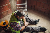 Physical injury at work of construction worker