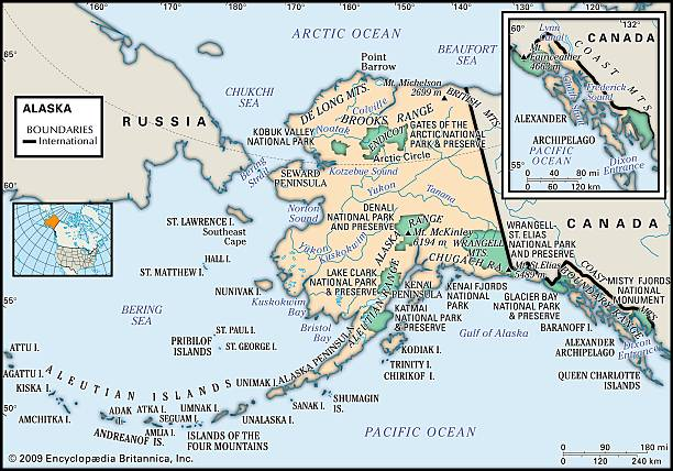 Physical Map Of Alaska Pictures | Getty Images