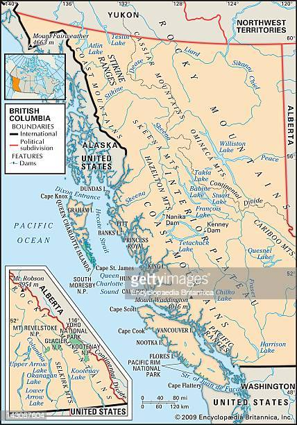 Physical Map Of British Columbia Physical Map Of British Columbia Canada Showing Major Mountain Ranges National Parks And Other Features