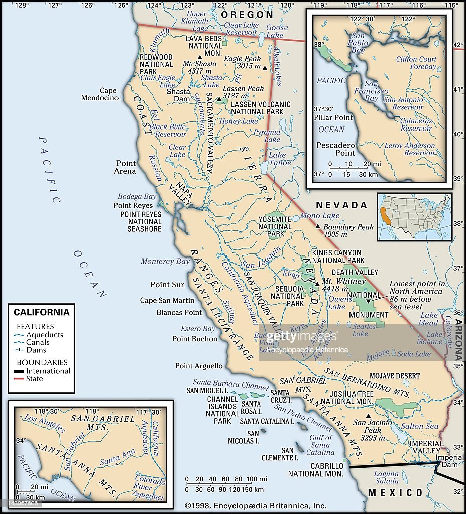 Physical Map Of California Pictures | Getty Images