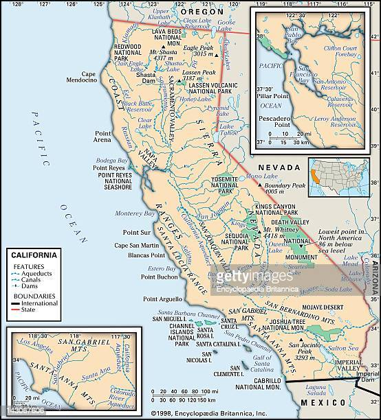 Physical Map Of California Physical Map Of The State Of California Showing Major National Parks Lakes And Other Feature