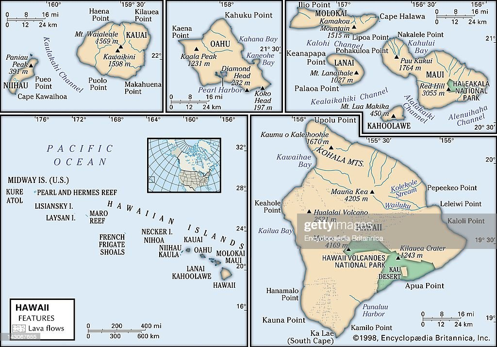 Physical Map Of Hawaii Pictures Getty Images