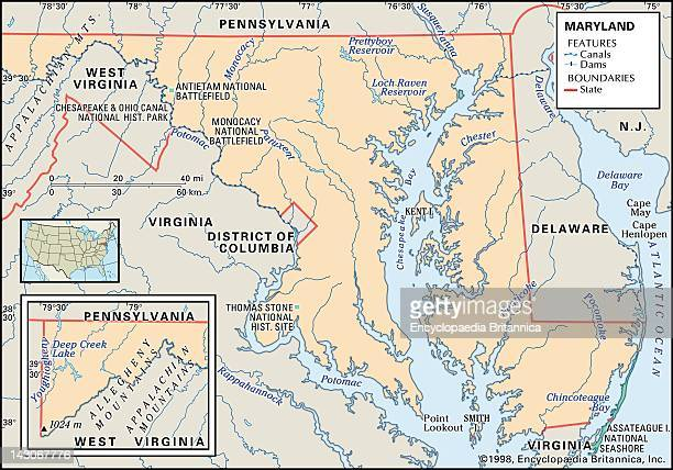 Physical Map Of Maryland Physical Map Of The States Of Maryland Showing Bays Parks And Other Features