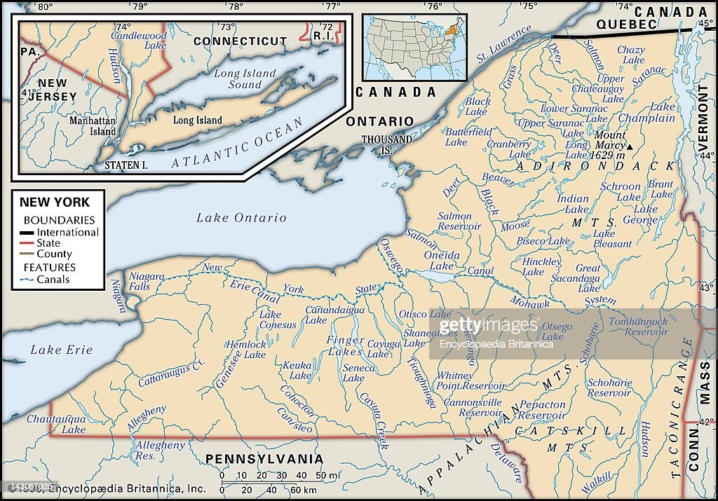 Physical Map Of New York, Physical Map Of New York Showing Major ...